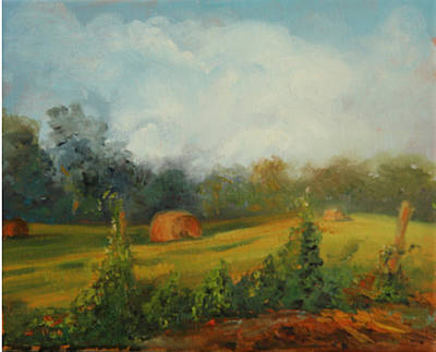 Kudzu Painting - Hay Bales And Kudzu by Jill Holt