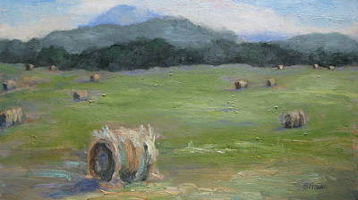 Hay Bales And Pinnacle Art Print