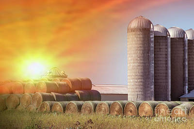 Photograph - Hay Bales And Silo's by Danielle Allard