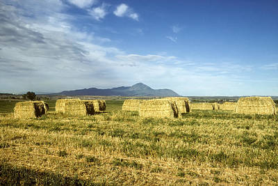 Photograph - Hay Bales And Sleeping Ute Mountain Colorado by John Brink