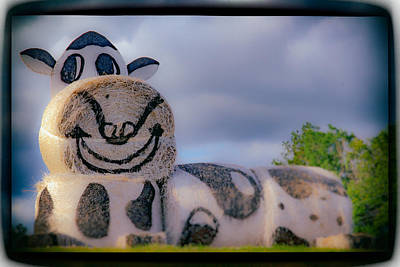 Digital Art - Hay Bales Cow by Bartz Johnson