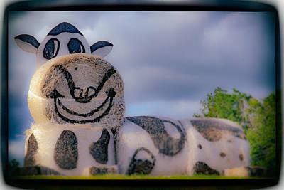 Digital Art - Hay Bales Cow by Bartz Johnson