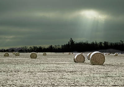 Photograph - Hay Bales In The Snow by Judy Johnson
