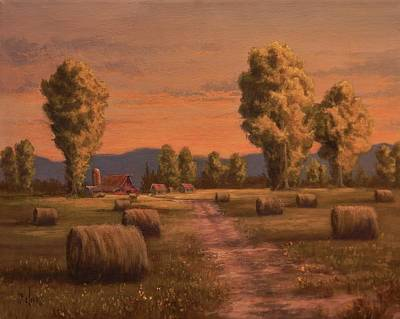 Haybales Painting - Hay Bales by Paul K Hill