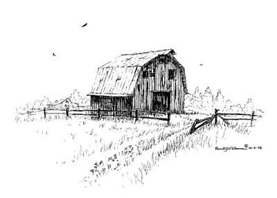 Drawing - Hay Barn With Broken Gate by Randy Welborn