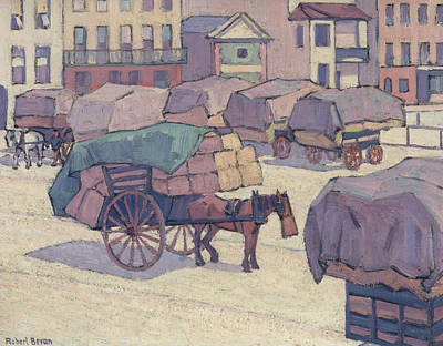 The Market Cart Painting - Hay Carts, Cumberland Market by Robert Bevan