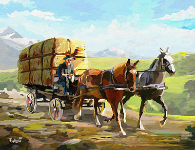 Painting - Hay Delivery Man by Anthony Mwangi