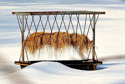 Photograph - Hay Feeder In Snow by Tana Reiff
