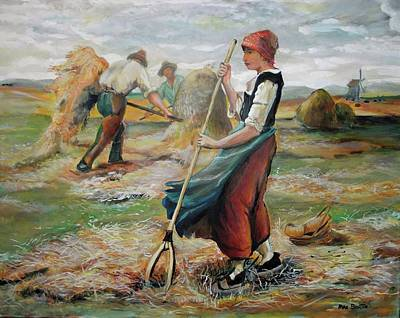 Painting - Hay Field Workers by Mike Benton