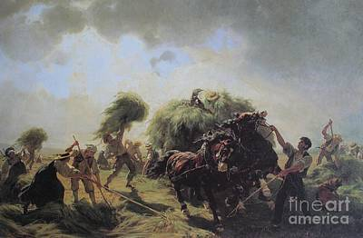 Hay Harvest In Threatening Weather Art Print by MotionAge Designs