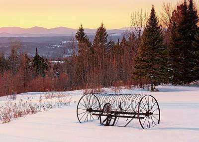 Photograph - Hay Rake At Winter Sunset by Alan L Graham