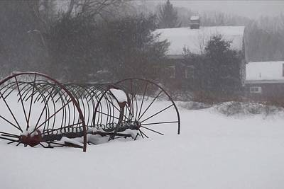 Photograph - Hay Rake In The Snow by Joy Nichols