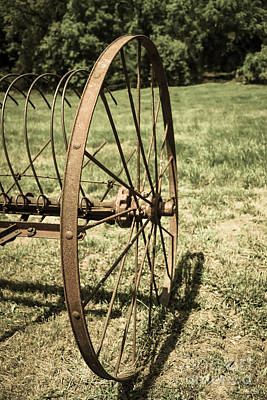 Photograph - Hay Rake Wheel Aged by Jennifer White