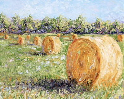 Painting - Hay Rolls by Lewis Bowman