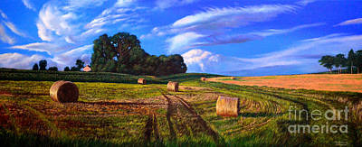 Painting - Hay Rolls On The Farm By Christopher Shellhammer by Christopher Shellhammer