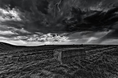 Farmscapes Photograph - Hay Storm Black And White by Mark Kiver