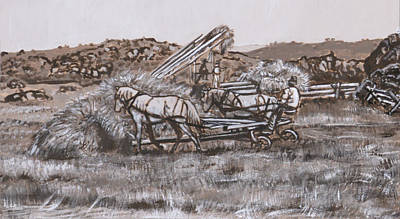 Painting - Hay Sweep Historical Vignette by Dawn Senior-Trask