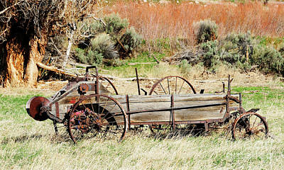 Hay Wagon At Butch Cassidy's Home Art Print by Dennis Hammer