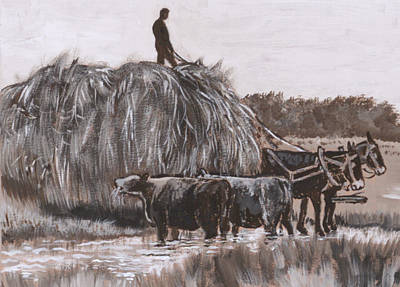 Painting - Hay Wagon Historical Vignette From River Mural by Dawn Senior-Trask