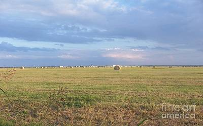 Haybales With Violet Sky Art Print