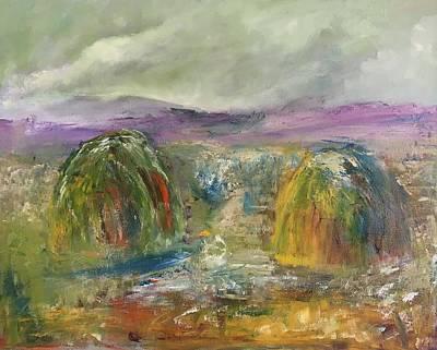 Painting - Haycocks by Mary Feeney