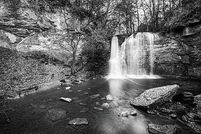 Photograph - Hayden Falls - Black And White - Dublin Ohio by Gregory Ballos