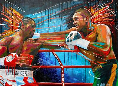 Boxer Abstract Art Painting - Haye V Fury by Angie Wright