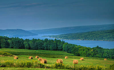 Pastoral Vineyards Photograph - Hayfield And Lake I  by Steven Ainsworth