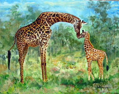 Painting - Haylee's Giraffes by LaVonne Hand