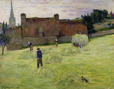 Breton Painting - Haymaking In Brittany by Paul Gauguin