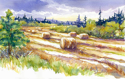 Hayfield Painting - Hayrolls In The Field by Peggy Wilson