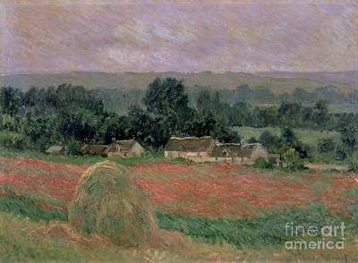 Crops Painting - Haystack At Giverny by Claude Monet