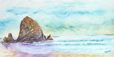 Rocks. Tidal Pool Painting - Haystack Rock, Cannon Beach by Rochelle Lang