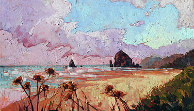 Brilliant Sky Painting - Haystack Rock by Erin Hanson