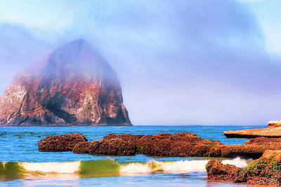 Photograph - Haystack Rock Fog by Dee Browning
