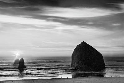 Photograph - Haystack Rock Sunset In Black And White, Cannon Beach, Oregon by Kay Brewer