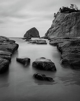 Haystack Rock In Bw Art Print