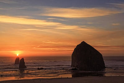 Photograph - Haystack Rock Ocean Sunset, Cannon Beach, Oregon by Kay Brewer