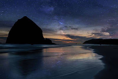Nature Photograph - Haystack Rock Under Starry Night Sky by David Gn