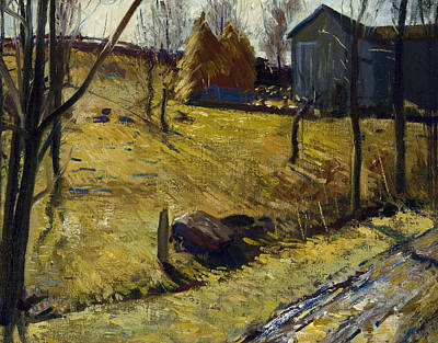 Bellows Painting - Haystacks And Barn by George Bellows