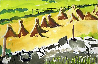 Painting - Haystacks And Wall by Kathleen Barnes