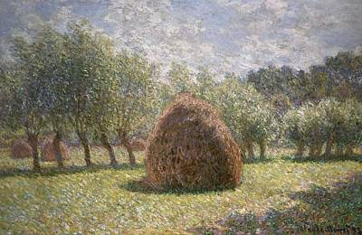 Farm Fields Painting - Haystacks At Giverny by Claude Monet