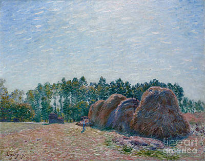 Morning Light Painting - Haystacks At Moret by MotionAge Designs