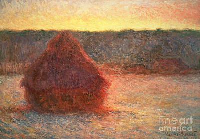 Haystacks At Sunset Art Print by Claude Monet