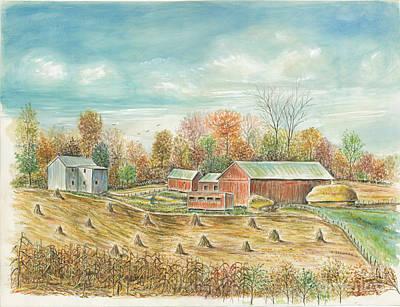 Haystacks At The Farm Art Print by Samuel Showman