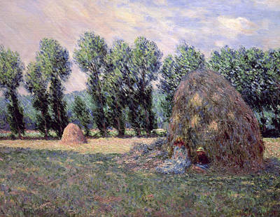 Farm Land Painting - Haystacks by Claude Monet
