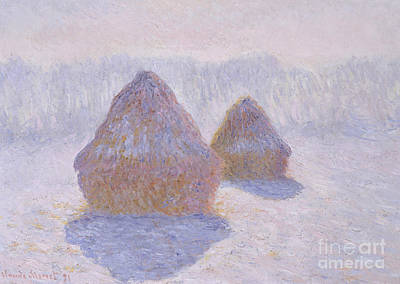 Morning Light Painting - Haystacks  Effect Of Snow And Sun, 1891  by Claude Monet