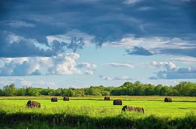 Haystacks In A Meadow Art Print by Evgeny Buzov