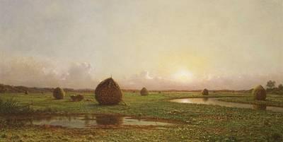 Haystack Painting - Haystacks by Martin Johnson Heade