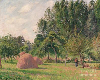 Bundle Painting - Haystacks, Morning, Eragny, 1899 by Camille Pissarro